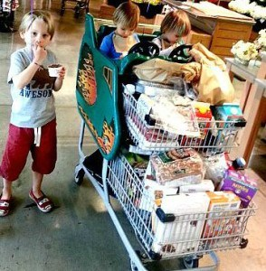 What to do with that third child wanting to run around and I wasn't able to get all the needed groceries: the car carts don't give enough room for all the food needed