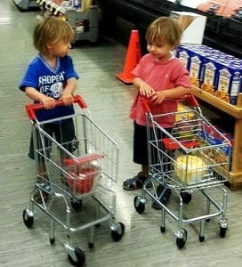 My twins easily converted over to responsibly pushing around their own carts at two and a half years old
