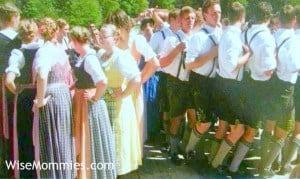 Dancing at the Aufstellen des Maibaum, Maypole, event in Bavaria Germany