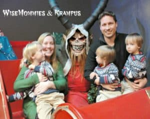 Our family picture with Krampus. Get yours at the Dark Hour Haunted House