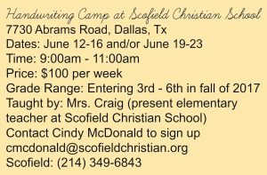 Handwriting Camp at Scofield Christian School