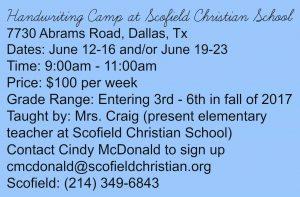Scofield Handwriting Camp